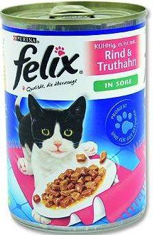 FELIX cat konzerva hovězí/krůta ve šťávě 400g