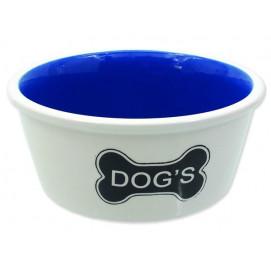 Miska DOG FANTASY keramická bílá vzor kost Dogs 21 cm 1600ml