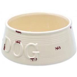 Miska DOG FANTASY keramická bílá fialové body 20,5 cm 1600ml