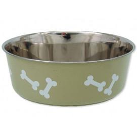 Miska DOG FANTASY nerezová s gumovým spodkem béžová-kost 20 cm 1750ml