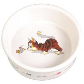 Miska (trixie) keramická, 0,2l/11cm - bílá/kočka/myš