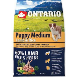 ONTARIO dog PUPPY MEDIUM lamb 2,5 kg