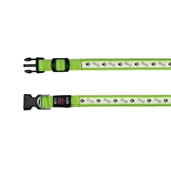 Obojek USB/svíticí ZELENÝ 2,5cm/30-40cm