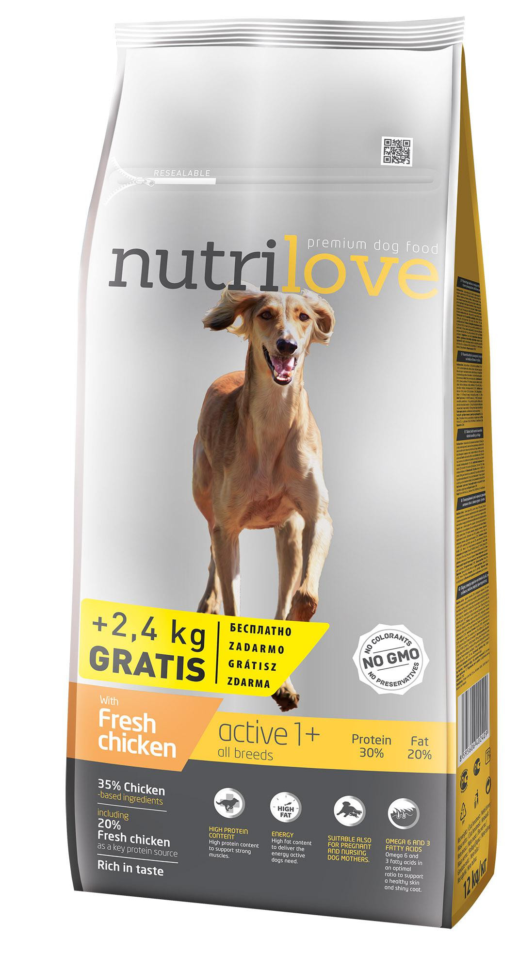 NUTRILOVE pes ACTIVE 3kg