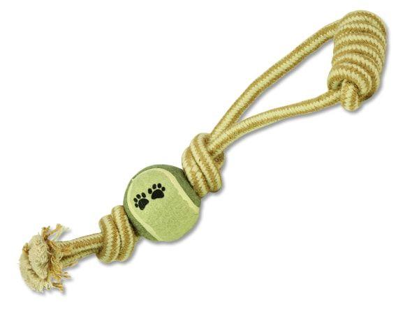 Přetahovadlo DOG FANTASY Juta házecí tenisák + madlo 34 cm