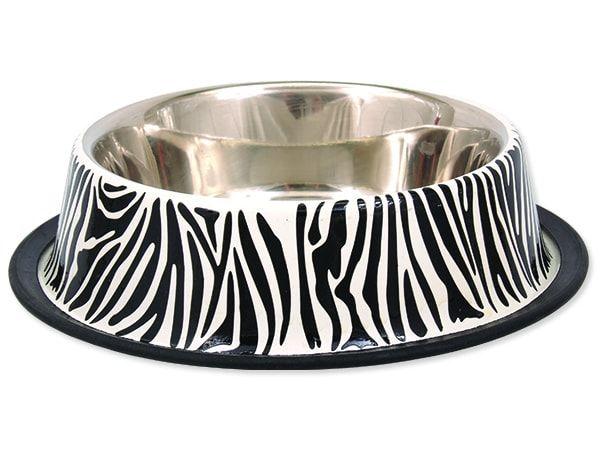 Miska DOG FANTASY nerezová s gumou zebra 20 cm 450ml