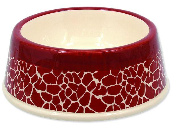 Miska DOG FANTASY keramická žirafa červená 20,5 cm 700ml