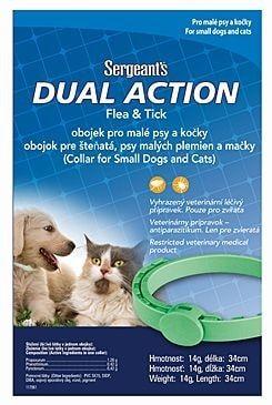 Sergeanťs Dual obojek antipar. malí psi a kočky 34cm