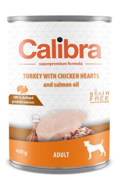 Calibra Dog konz.Adult krůta a kuřecí srdíčka 400g