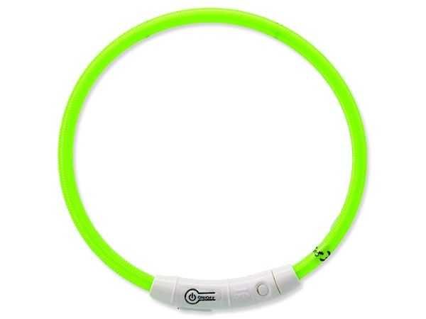 Obojek DOG FANTASY LED nylonový zelený M-L