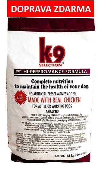 K-9 SELECTION HI-PERFORMANCE FORMULA 20kg - DOPRVA ZDARMA