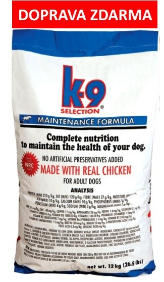 K-9 SELECTION MAINTENANCE FORMULA 12kg - DOPRAVA ZDARMA